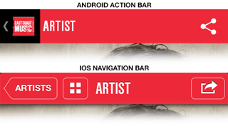 iOS vs Android navigation bar
